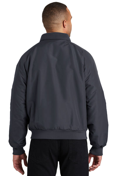 Port Authority J328 Mens Charger Wind & Water Resistant Full Zip Jacket Battleship Grey Back