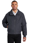 Port Authority J328 Mens Charger Wind & Water Resistant Full Zip Jacket Battleship Grey Front