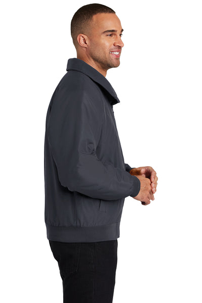 Port Authority J328 Mens Charger Wind & Water Resistant Full Zip Jacket Battleship Grey Side