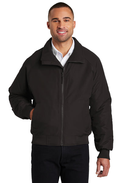Port Authority J328 Mens Charger Wind & Water Resistant Full Zip Jacket Black Front
