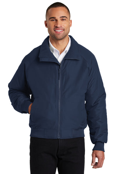 Port Authority J328 Mens Charger Wind & Water Resistant Full Zip Jacket Navy Blue Front