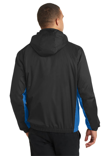 Port Authority J330 Mens Core Wind & Water Resistant Full Zip Jacket Black/Royal Blue Back