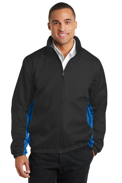 Port Authority J330 Mens Core Wind & Water Resistant Full Zip Jacket Black/Royal Blue Front