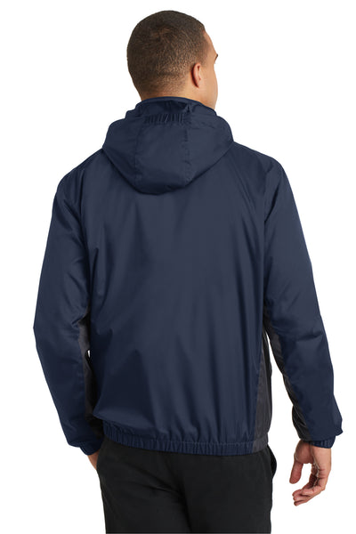 Port Authority J330 Mens Core Wind & Water Resistant Full Zip Jacket Navy Blue/Grey Back