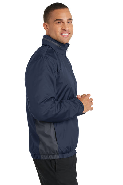 Port Authority J330 Mens Core Wind & Water Resistant Full Zip Jacket Navy Blue/Grey Side
