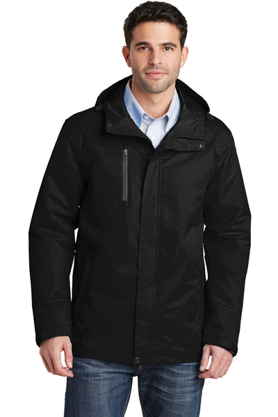 Port Authority J331 Mens All Conditions Waterproof Full Zip Hooded Jacket Black Front