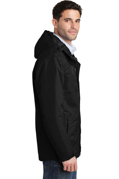 Port Authority J331 Mens All Conditions Waterproof Full Zip Hooded Jacket Black Side