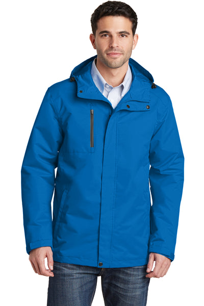 Port Authority J331 Mens All Conditions Waterproof Full Zip Hooded Jacket Direct Blue Front