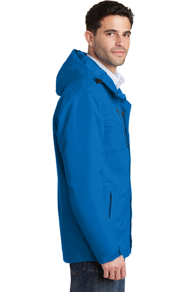 Port Authority J331 Mens All Conditions Waterproof Full Zip Hooded Jacket Direct Blue Side