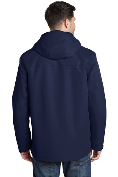 Port Authority J331 Mens All Conditions Waterproof Full Zip Hooded Jacket Navy Blue Back