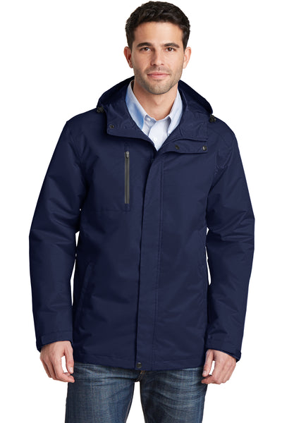 Port Authority J331 Mens All Conditions Waterproof Full Zip Hooded Jacket Navy Blue Front