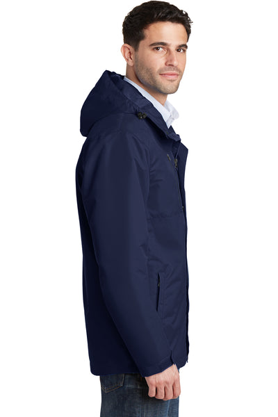 Port Authority J331 Mens All Conditions Waterproof Full Zip Hooded Jacket Navy Blue Side