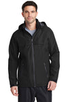 Port Authority J333 Mens Torrent Waterproof Full Zip Hooded Jacket Black Front