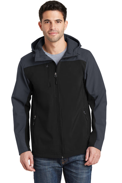 Port Authority J335 Mens Core Wind & Water Resistant Full Zip Hooded Jacket Black/Grey Front