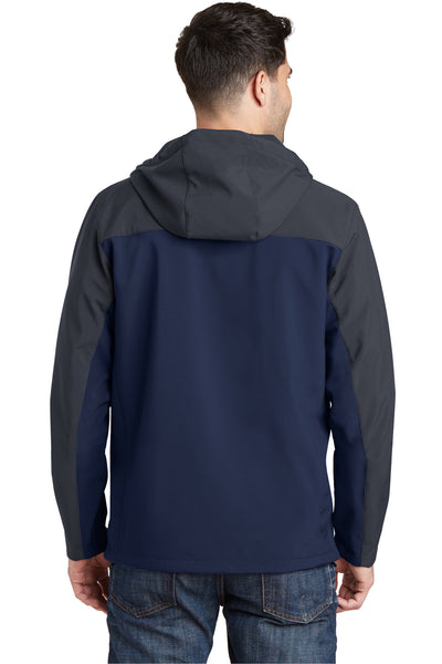 Port Authority J335 Mens Core Wind & Water Resistant Full Zip Hooded Jacket Navy Blue/Grey Back