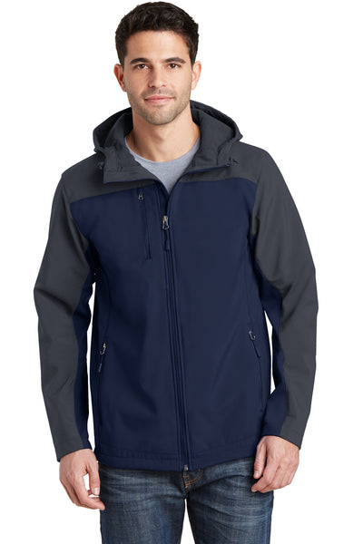 Port Authority J335 Mens Core Wind & Water Resistant Full Zip Hooded Jacket Navy Blue/Grey Front