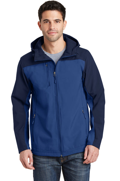 Port Authority J335 Mens Core Wind & Water Resistant Full Zip Hooded Jacket Royal Blue/Navy Blue Front