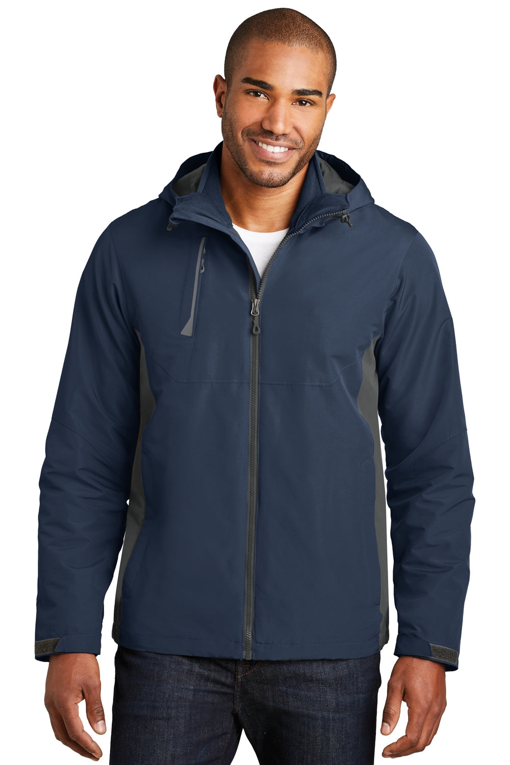 Port Authority J338 Mens Merge 3-in-1 Wind & Water Full Zip Hooded Jacket Navy Blue/Grey Front