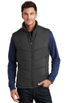 Port Authority J709 Mens Wind & Water Resistant Full Zip Puffy Vest Black Front