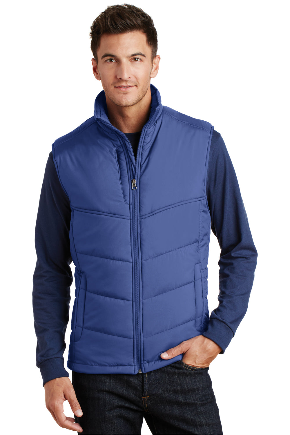 Port Authority J709 Mens Wind & Water Resistant Full Zip Puffy Vest Mediterranean Blue Front