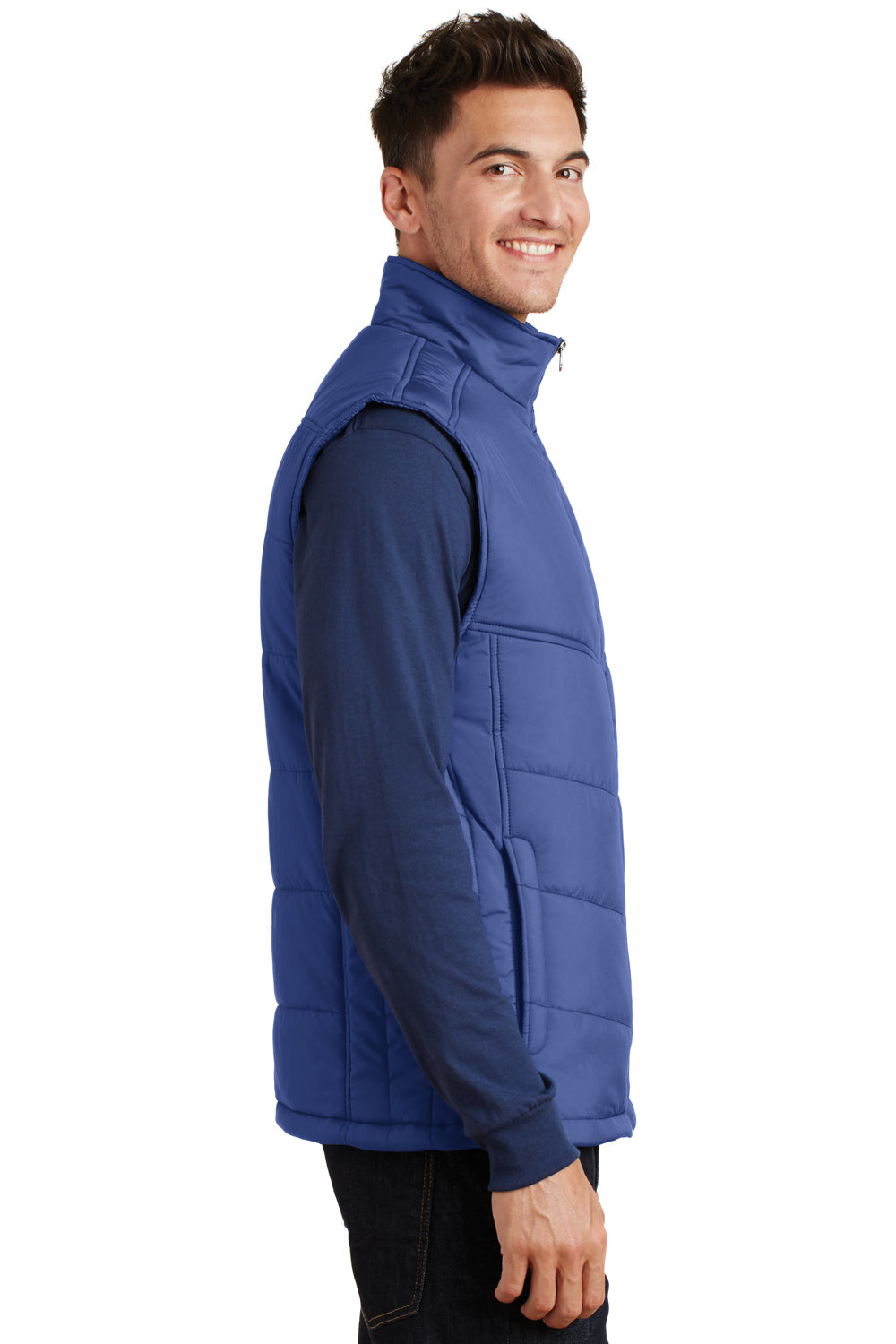 Port Authority J709 Mens Wind & Water Resistant Full Zip Puffy Vest Mediterranean Blue Side