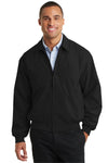 Port Authority J730 Mens Casual Wind & Water Resistant Full Zip Microfiber Jacket Black Front