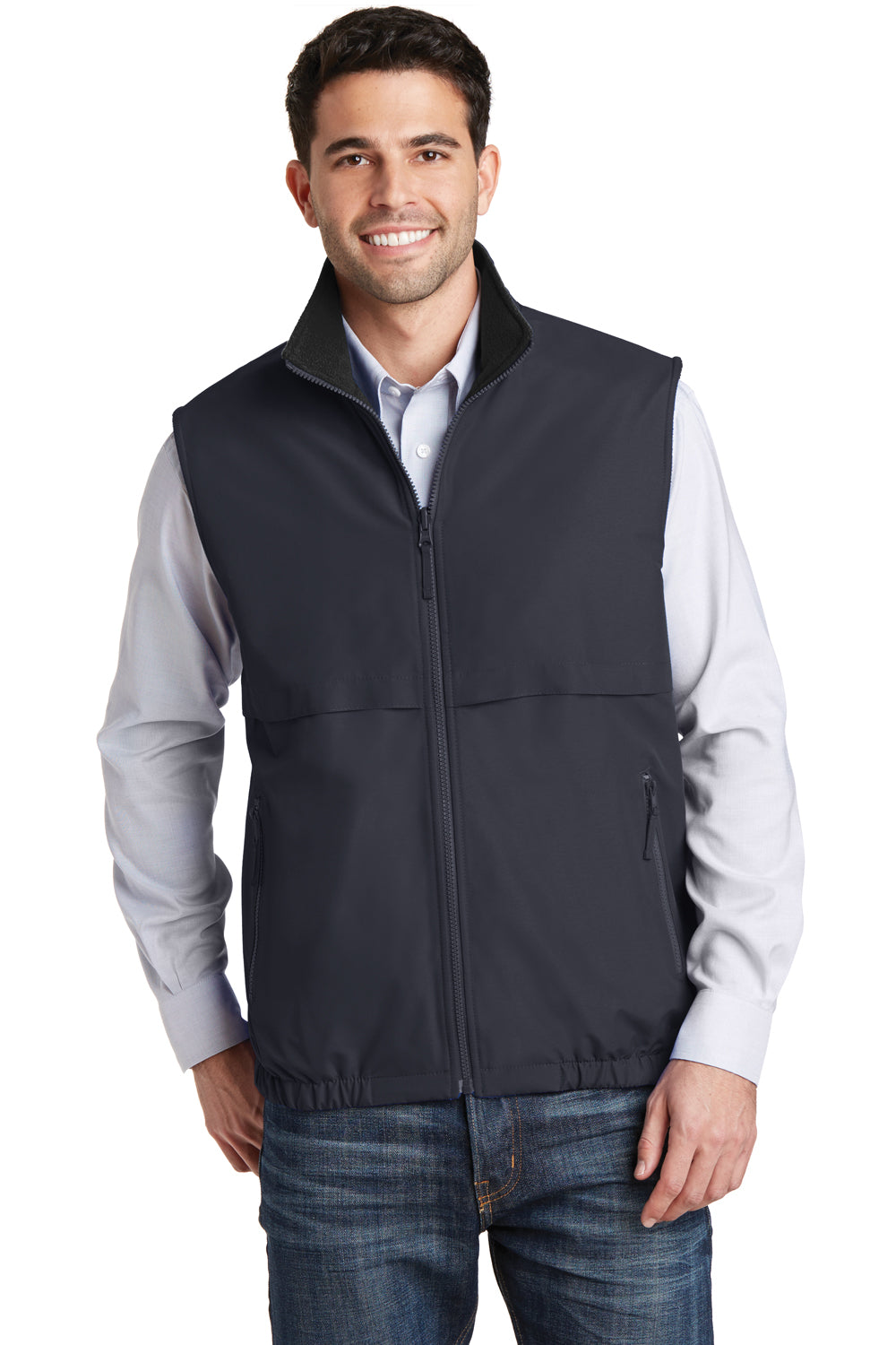 Port Authority J7490 Mens Charger Reversible Wind & Water Resistant Full Zip Vest Battleship Grey Front