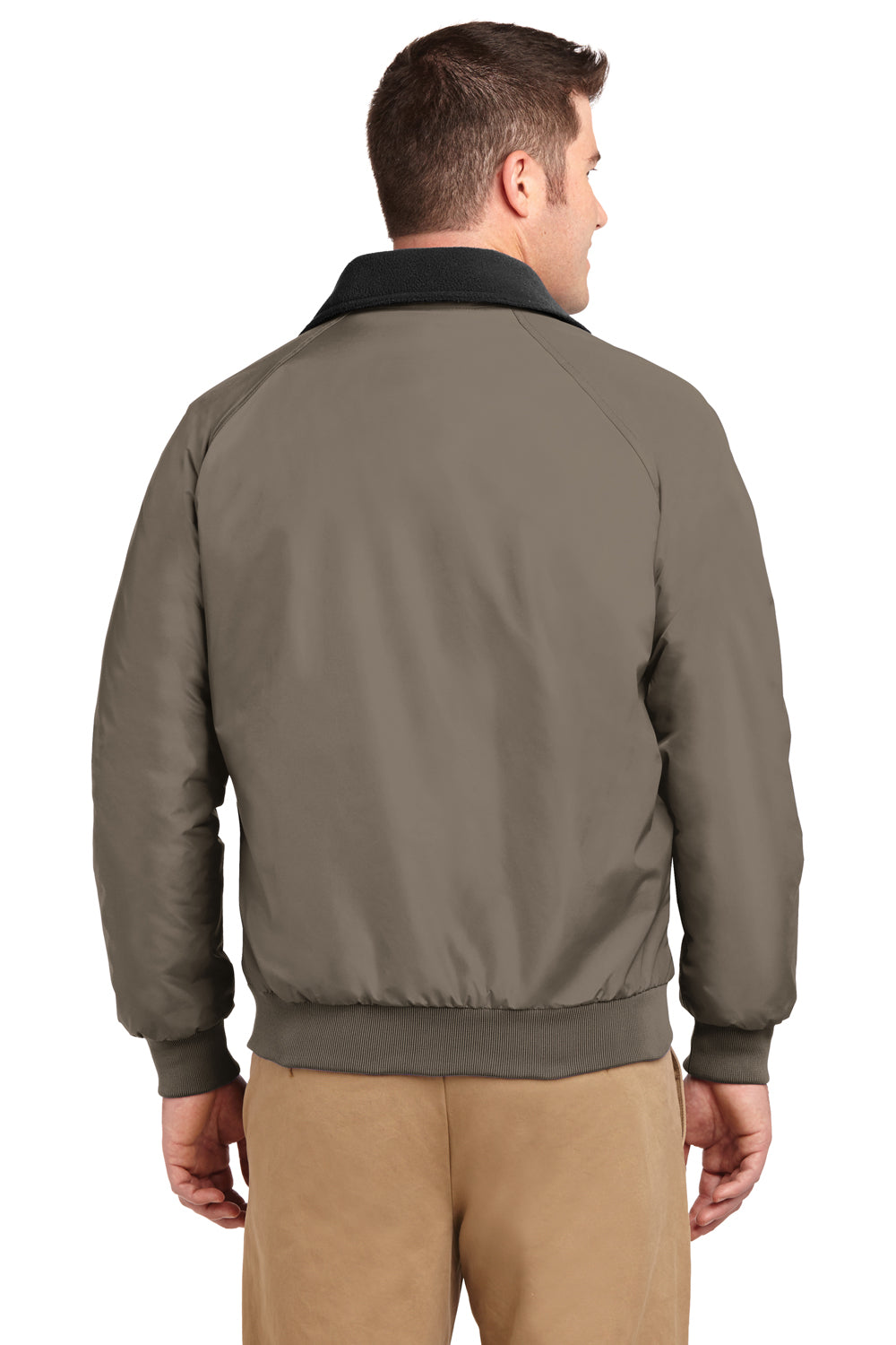 Port Authority J754 Mens Challenger Wind & Water Resistant Full Zip Jacket Khaki Brown Back