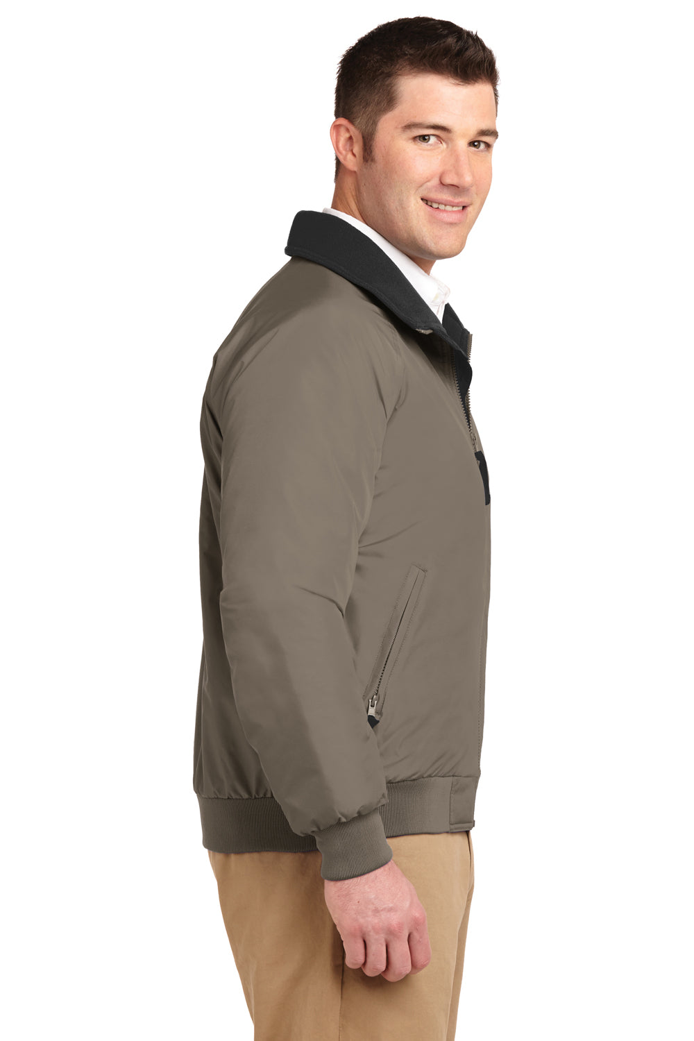 Port Authority J754 Mens Challenger Wind & Water Resistant Full Zip Jacket Khaki Brown Side
