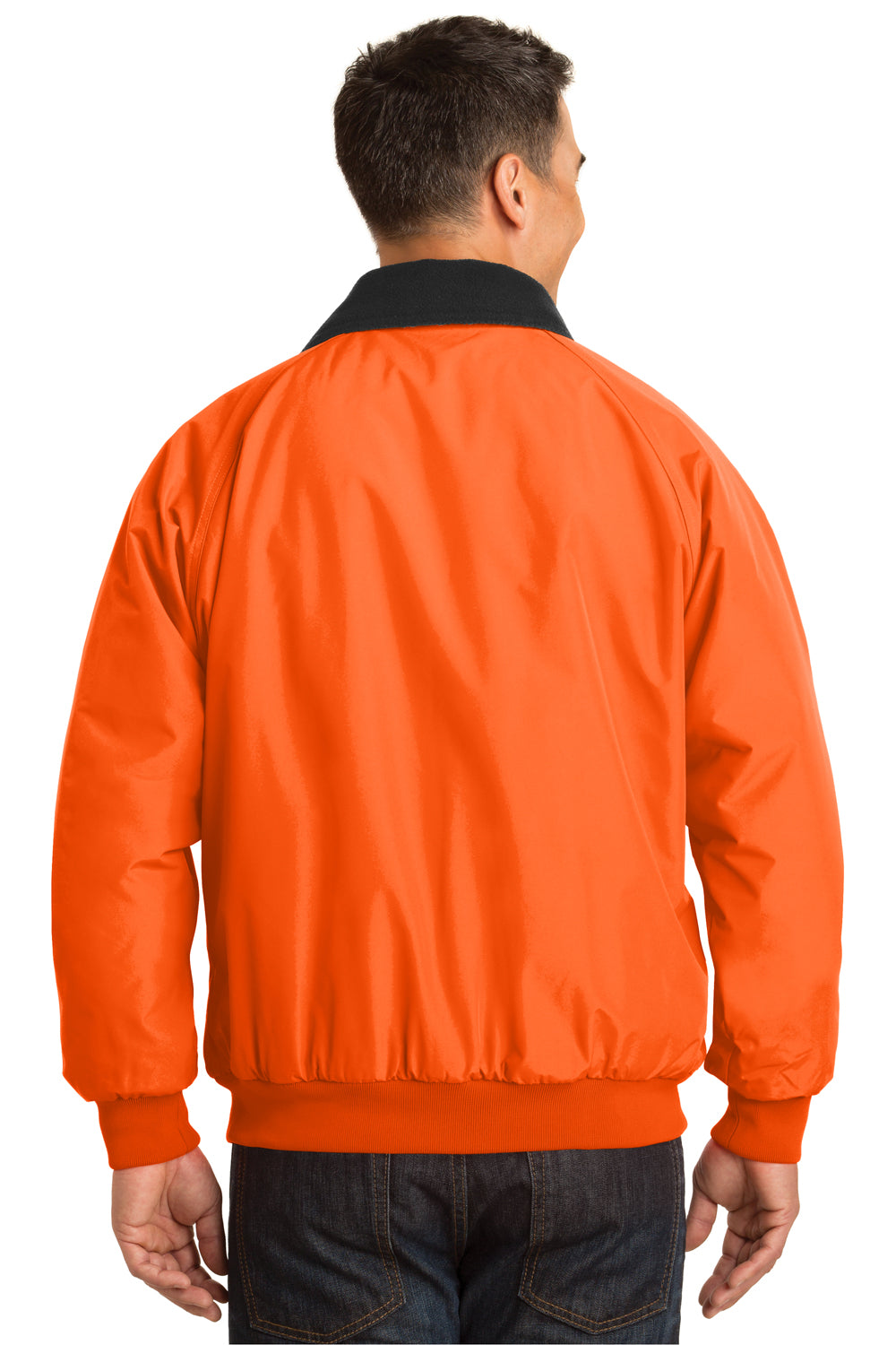 Port Authority J754S Mens Challenger Wind & Water Resistant Full Zip Jacket Safety Orange Back