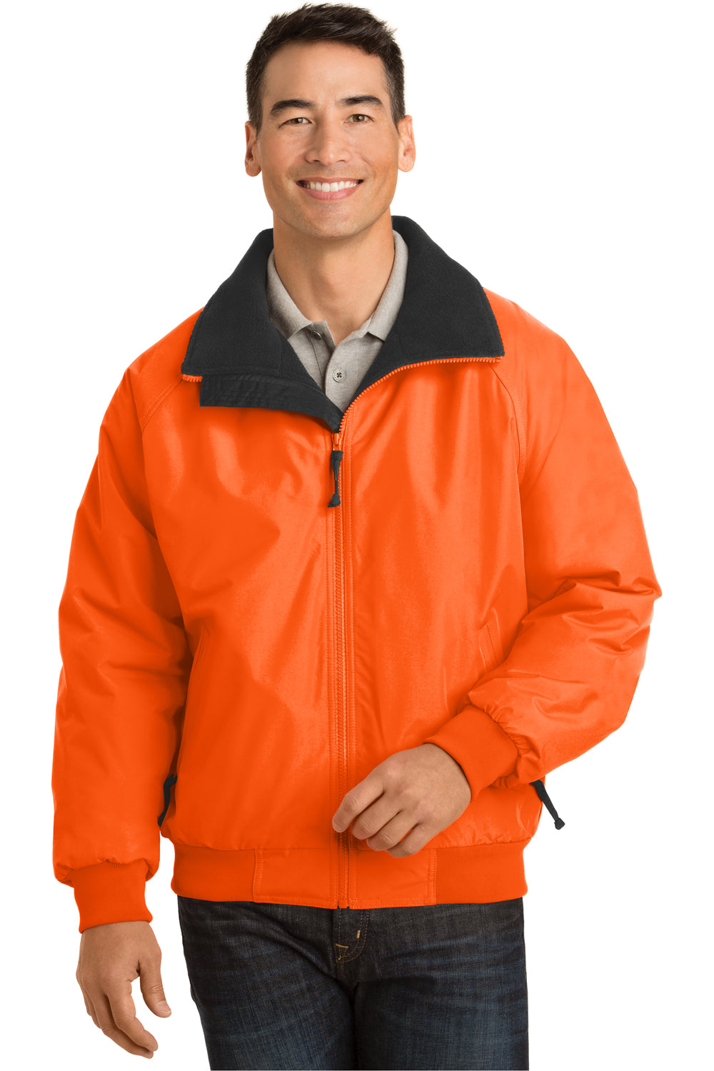 Port Authority J754S Mens Challenger Wind & Water Resistant Full Zip Jacket Safety Orange Front