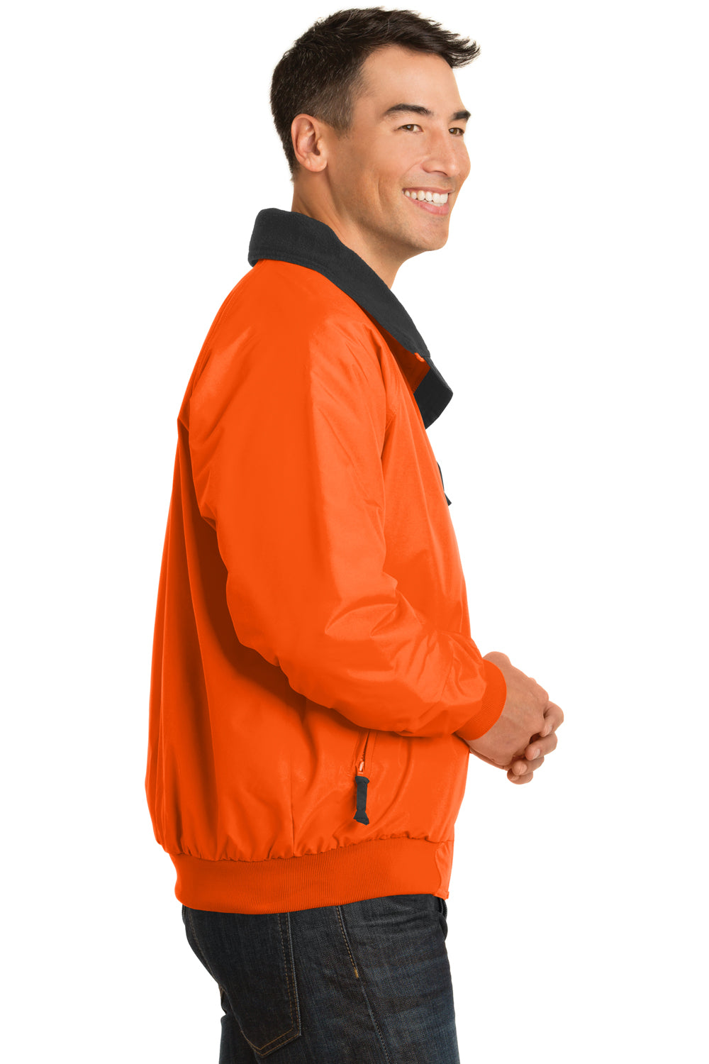 Port Authority J754S Mens Challenger Wind & Water Resistant Full Zip Jacket Safety Orange Side