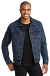 Port Authority J7620 Mens Stonewashed Denim Button Down Jacket Blue Front