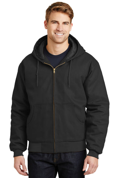 CornerStone J763H Mens Duck Cloth Full Zip Hooded Jacket Black Front