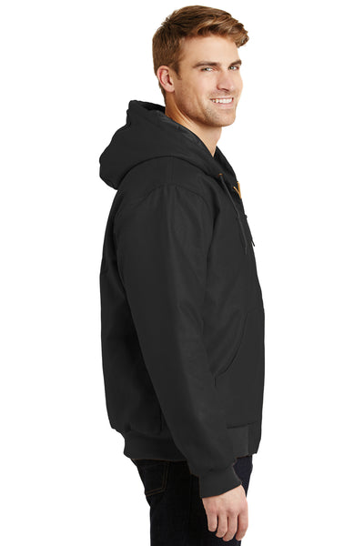 CornerStone J763H Mens Duck Cloth Full Zip Hooded Jacket Black Side