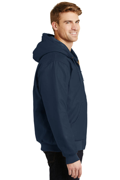 CornerStone J763H Mens Duck Cloth Full Zip Hooded Jacket Navy Blue Side