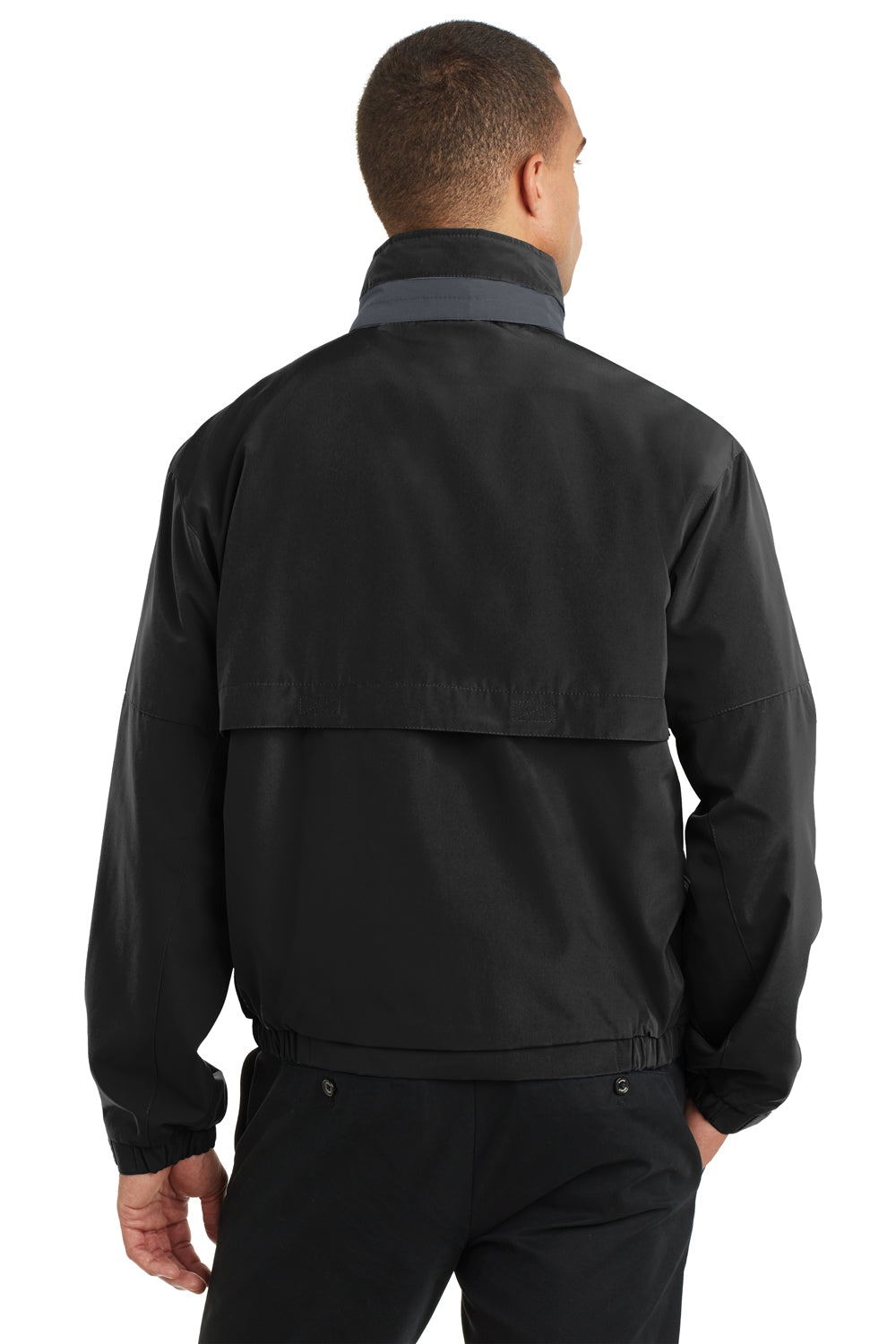 Port Authority J764 Mens Legacy Wind & Water Resistant Full Zip Hooded Jacket Black Back