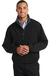 Port Authority J764 Mens Legacy Wind & Water Resistant Full Zip Hooded Jacket Black Front