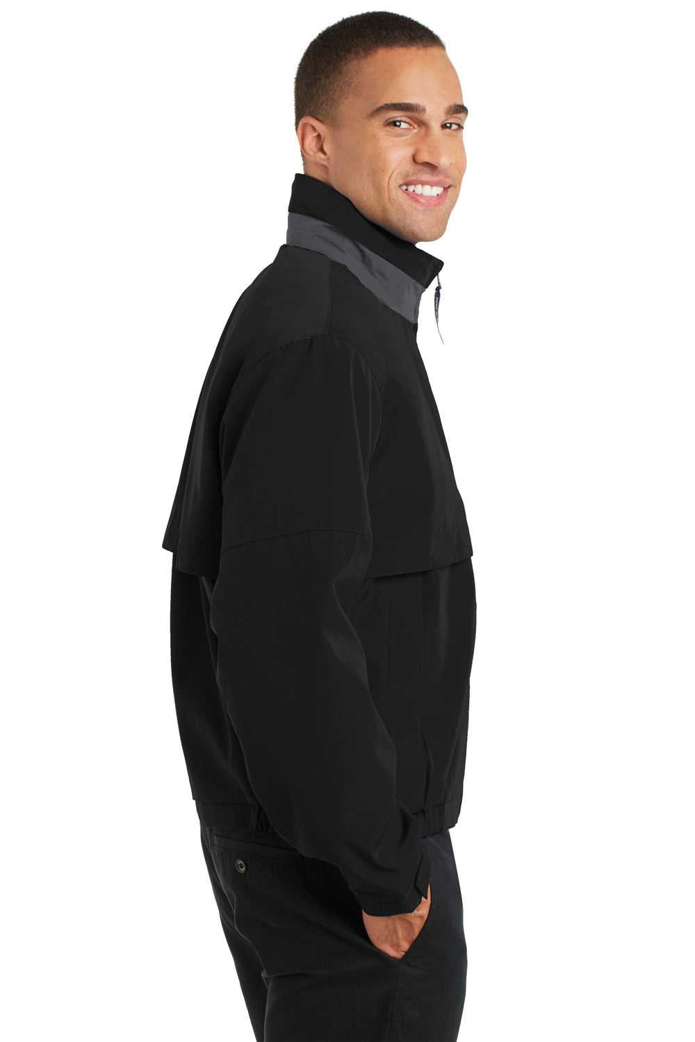 Port Authority J764 Mens Legacy Wind & Water Resistant Full Zip Hooded Jacket Black Side