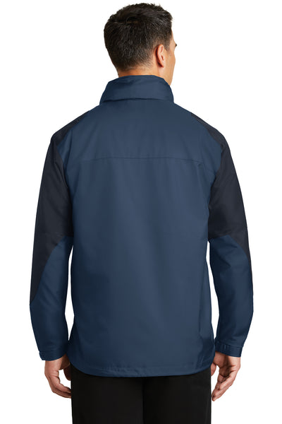 Port Authority J768 Mens Endeavor Wind & Water Resistant Full Zip Hooded Jacket Insignia Blue/Navy Blue Back