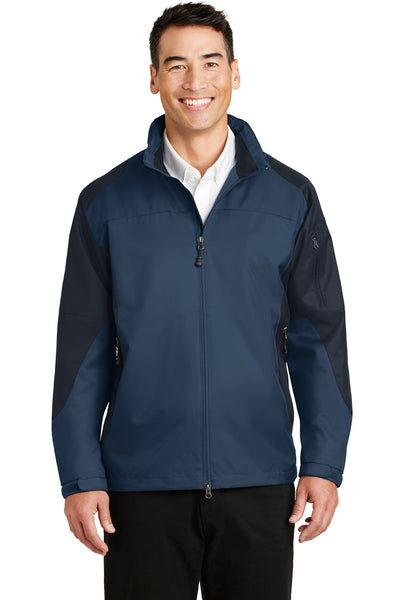 Port Authority J768 Mens Endeavor Wind & Water Resistant Full Zip Hooded Jacket Insignia Blue/Navy Blue Front