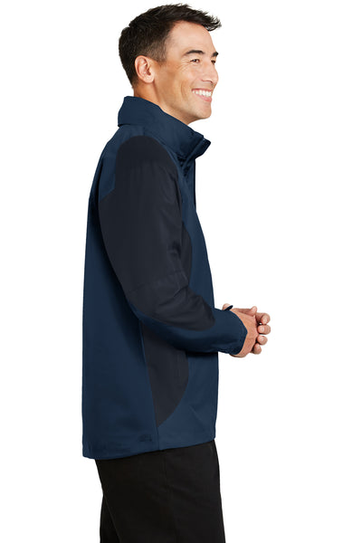 Port Authority J768 Mens Endeavor Wind & Water Resistant Full Zip Hooded Jacket Insignia Blue/Navy Blue Side