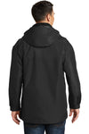 Port Authority J777 Mens 3-in-1 Wind & Water Resistant Full Zip Hooded Jacket Black Back