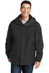 Port Authority J777 Mens 3-in-1 Wind & Water Resistant Full Zip Hooded Jacket Black Front