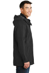 Port Authority J777 Mens 3-in-1 Wind & Water Resistant Full Zip Hooded Jacket Black Side
