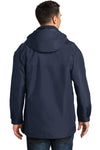 Port Authority J777 Mens 3-in-1 Wind & Water Resistant Full Zip Hooded Jacket Navy Blue Back
