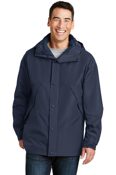Port Authority J777 Mens 3-in-1 Wind & Water Resistant Full Zip Hooded Jacket Navy Blue Front