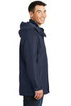 Port Authority J777 Mens 3-in-1 Wind & Water Resistant Full Zip Hooded Jacket Navy Blue Side
