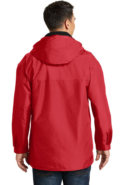 Port Authority J777 Mens 3-in-1 Wind & Water Resistant Full Zip Hooded Jacket Red Back