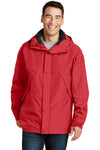 Port Authority J777 Mens 3-in-1 Wind & Water Resistant Full Zip Hooded Jacket Red Front